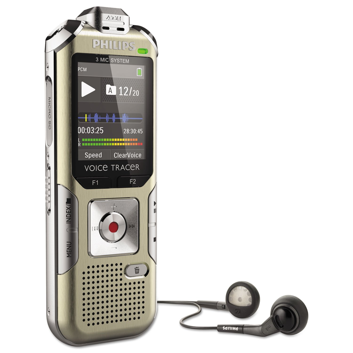 Philips DVT6500 Voice Tracer 6500 Digital Recorder, 4 GB Memory, Gold