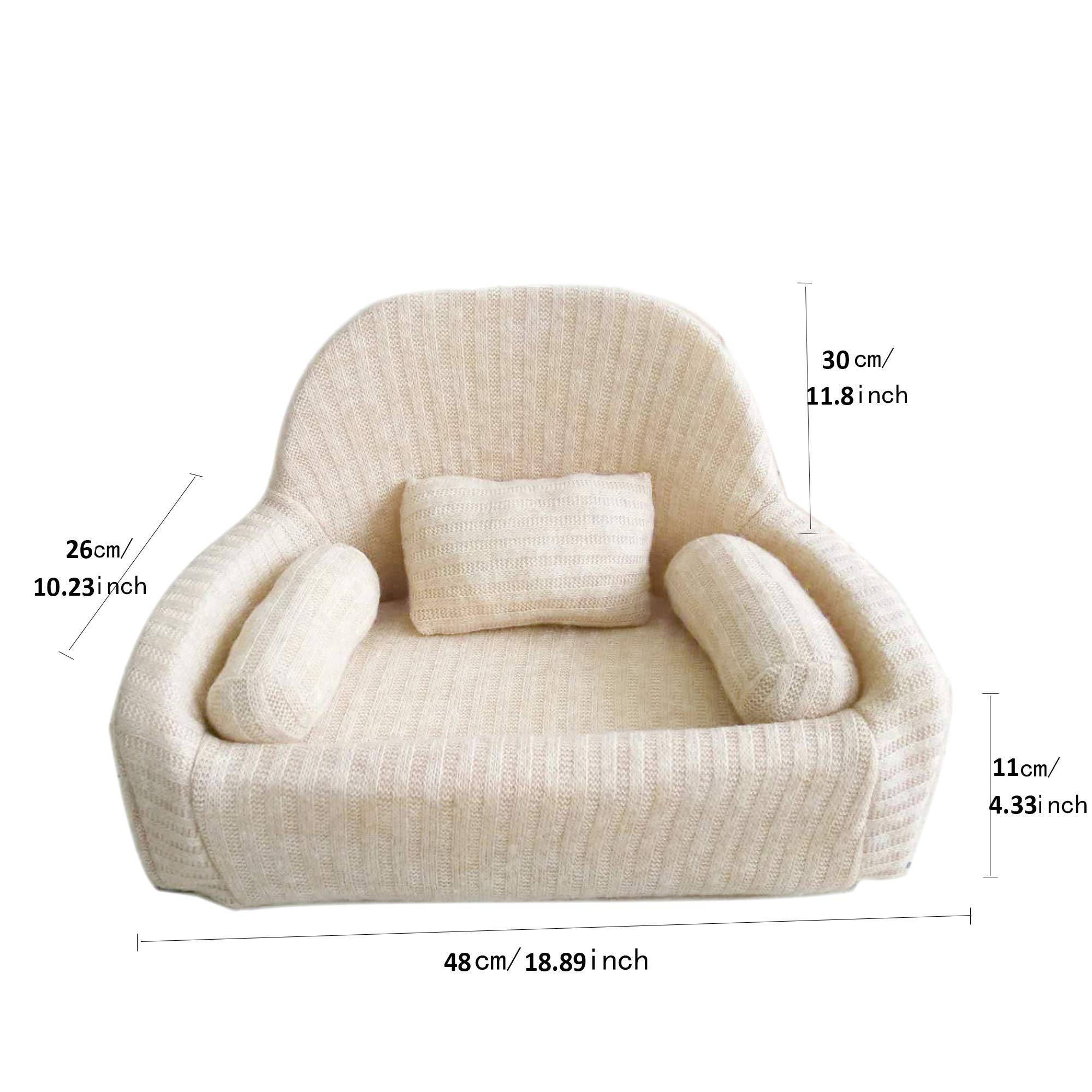 Couch Photography Props for Newborns 0-6 Months EPE Foam Professional Posing Aid Sofa Chair (0-6Month Beige Large) by Leo Skye