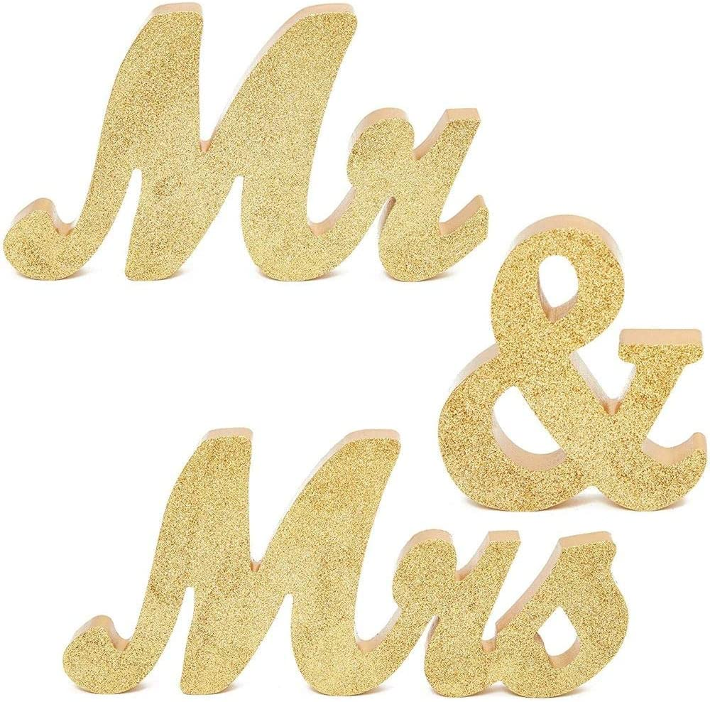 Mr. and Mrs. Signs for Wedding Table Decoration (6 Inches, Gold, 3 Pieces)