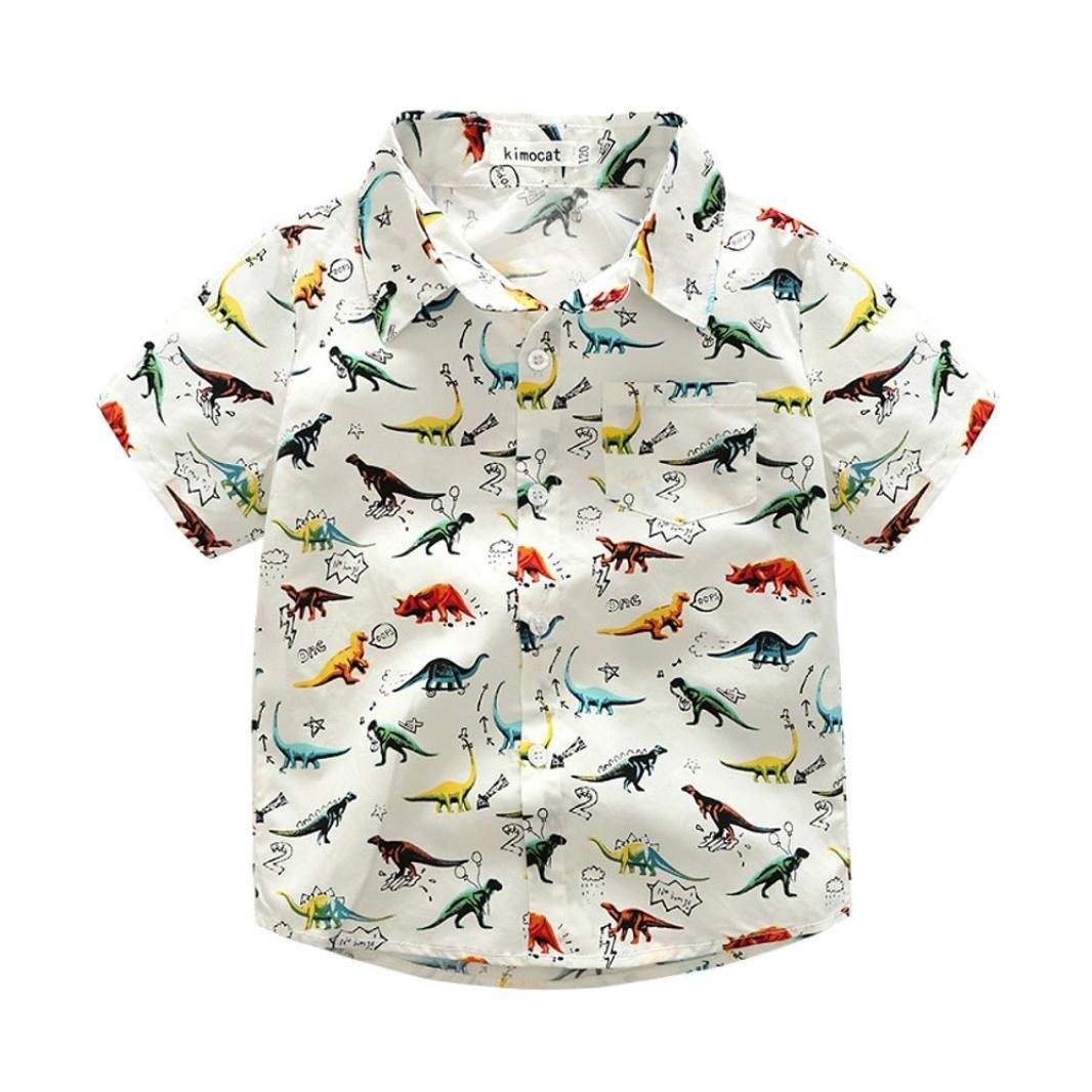 Dinlong Baby Boys Clothes Cartoon Dinosaur Print Tops T Shirt Gentlemen Blouse Din_95