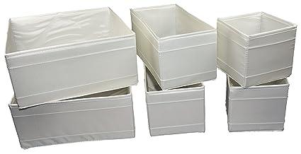 Ikea – Conjunto de 6 Cajas de almacenaje SKUBB en 3 tamaños – Color Blanco