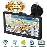 Hieha GPS Navegador Android 16 GB 7 Pulgadas WIFI Bluetooth para Coche Camión 800*400 Navegación Europeo Asistente de Tráfico Luz Ajustable en Español