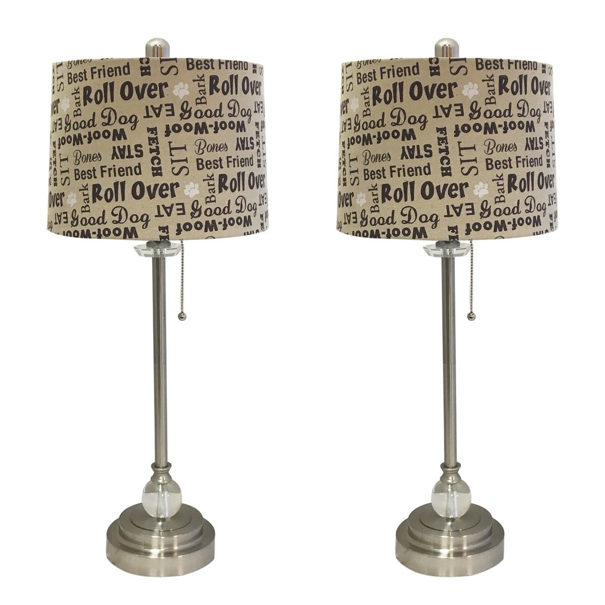 Royal Designs 28'' Crystal and Brushed Nickel Lamp with Cream and Brown Dog Lover Print Drum Hardback Lamp Shade, Set of 2 by Royal Designs, Inc