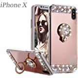 iPhone X Case,iPhone 10 Case,Glitter Cute Mirror Back Phone Case Girls with Kickstand ,Ring Stand Sparkly Luxury Fashion Bling Sparkle Diamond Glitter Girly TPU Bumper Case For iPhone X.
