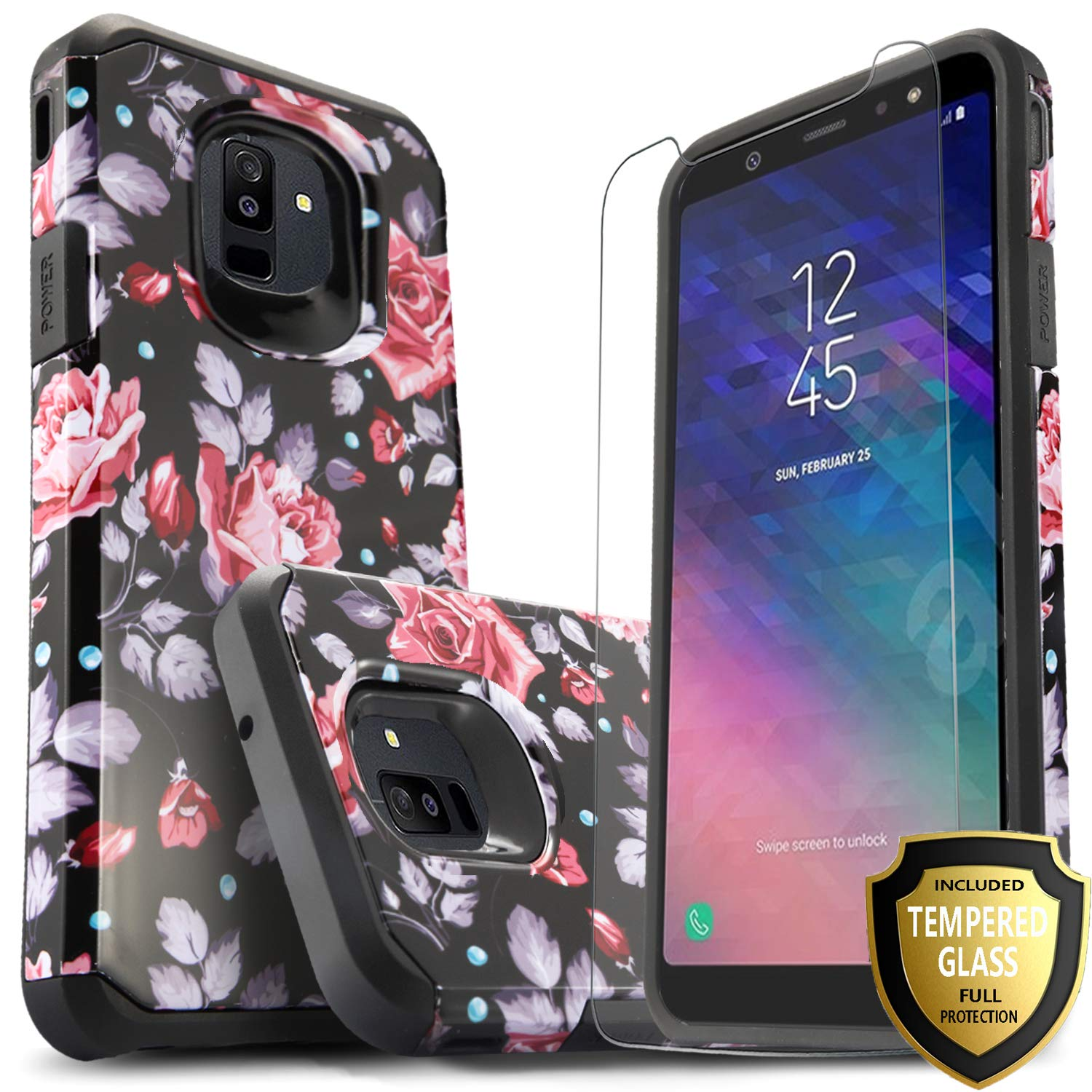 Galaxy A6 Case with [Tempered Glass Screen Protector], [Not Fit A6 Plus]  Star Drop Protection Dual Layers Impact Advanced Rugged Protective Phone