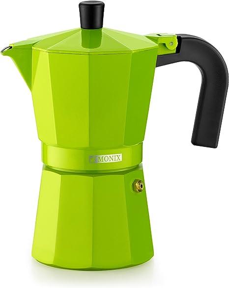 Monix Lima Cafetera Italiana, Capacidad 3 Tazas, Aluminio, Verde, 9 cm: Amazon.es: Hogar