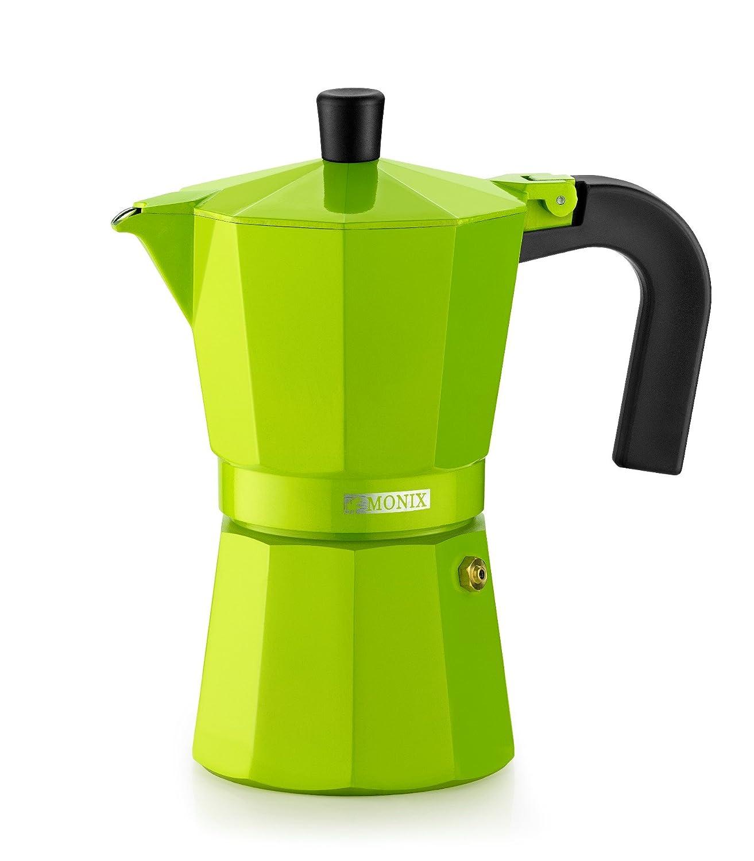 Monix Lima Cafetera Italiana, Capacidad 3 Tazas, Aluminio, Verde ...