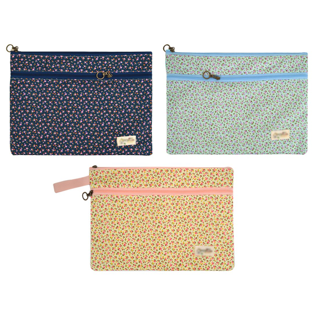 LABANCA Floral Printed Expanding File Business & School Briefcase Document Portfolio Pouch Bag School Supplies Pack of 3
