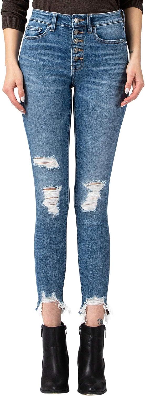 VERVET by Flying Monkey Women's High Rise Button Up Fray Sharkbite Hem Skinny Crop Jeans