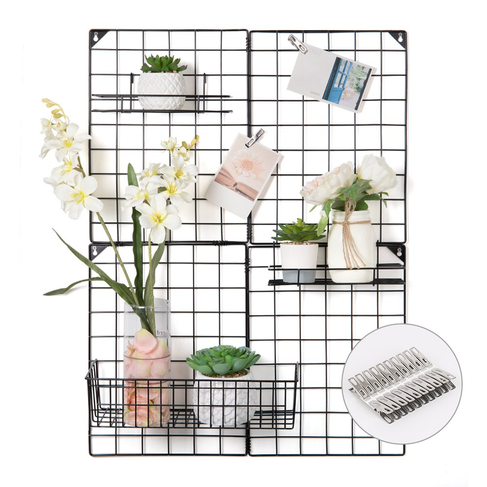 "NEX Wire Grid Panel, Multi-Functional Wall Storage Display Grid for Home Decor Dorm Decoration, 4 Small Grid Panels & 3 Mess Baskets Offered, 32.68"" x 23.82"", Black"