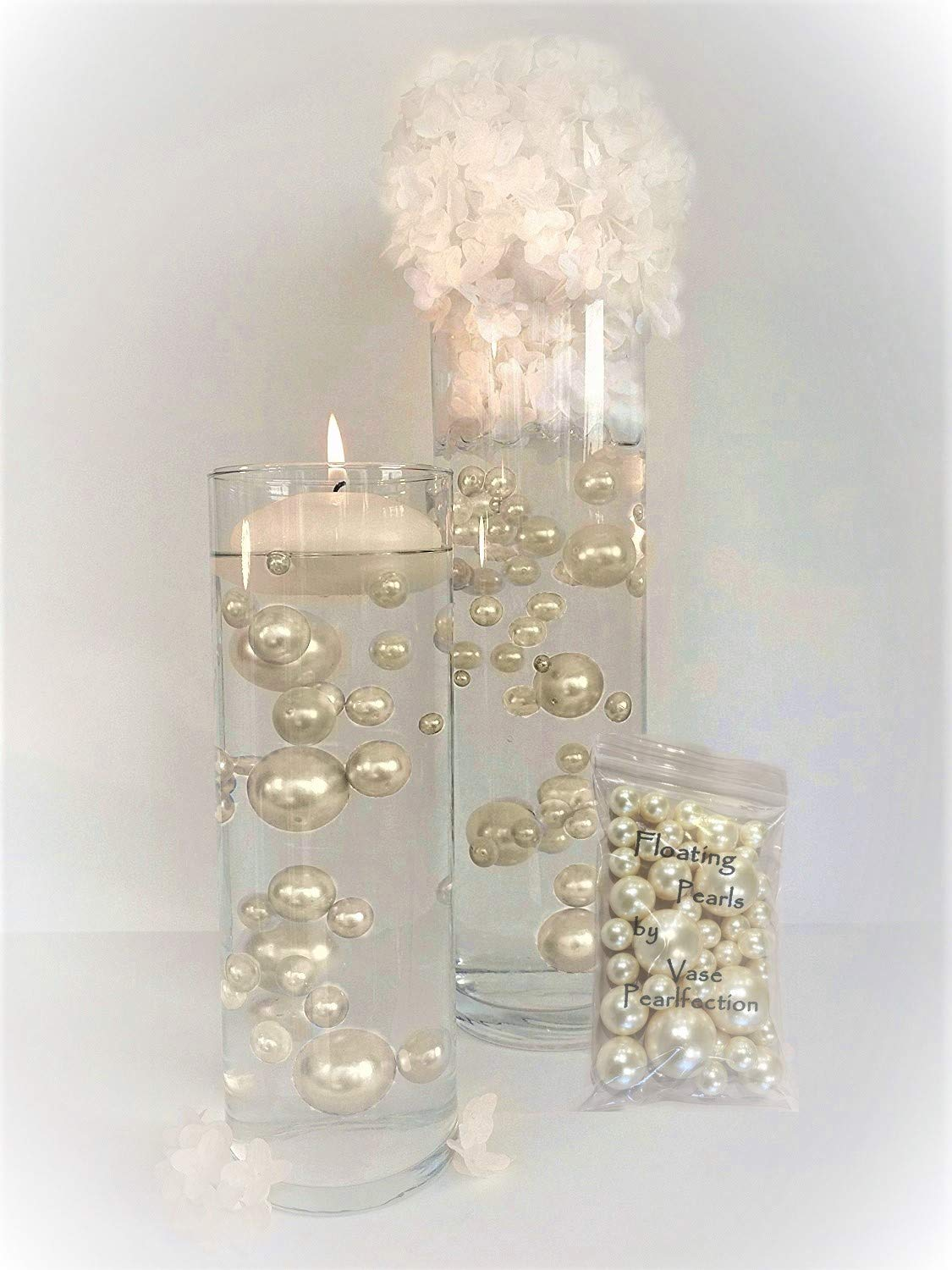 Floating All Ivory Pearls - Unique Jumbo and Assorted Sizes Vase Fillers for Centerpieces Decorations with 2 Transparent Water Gels Packets Combo Discount