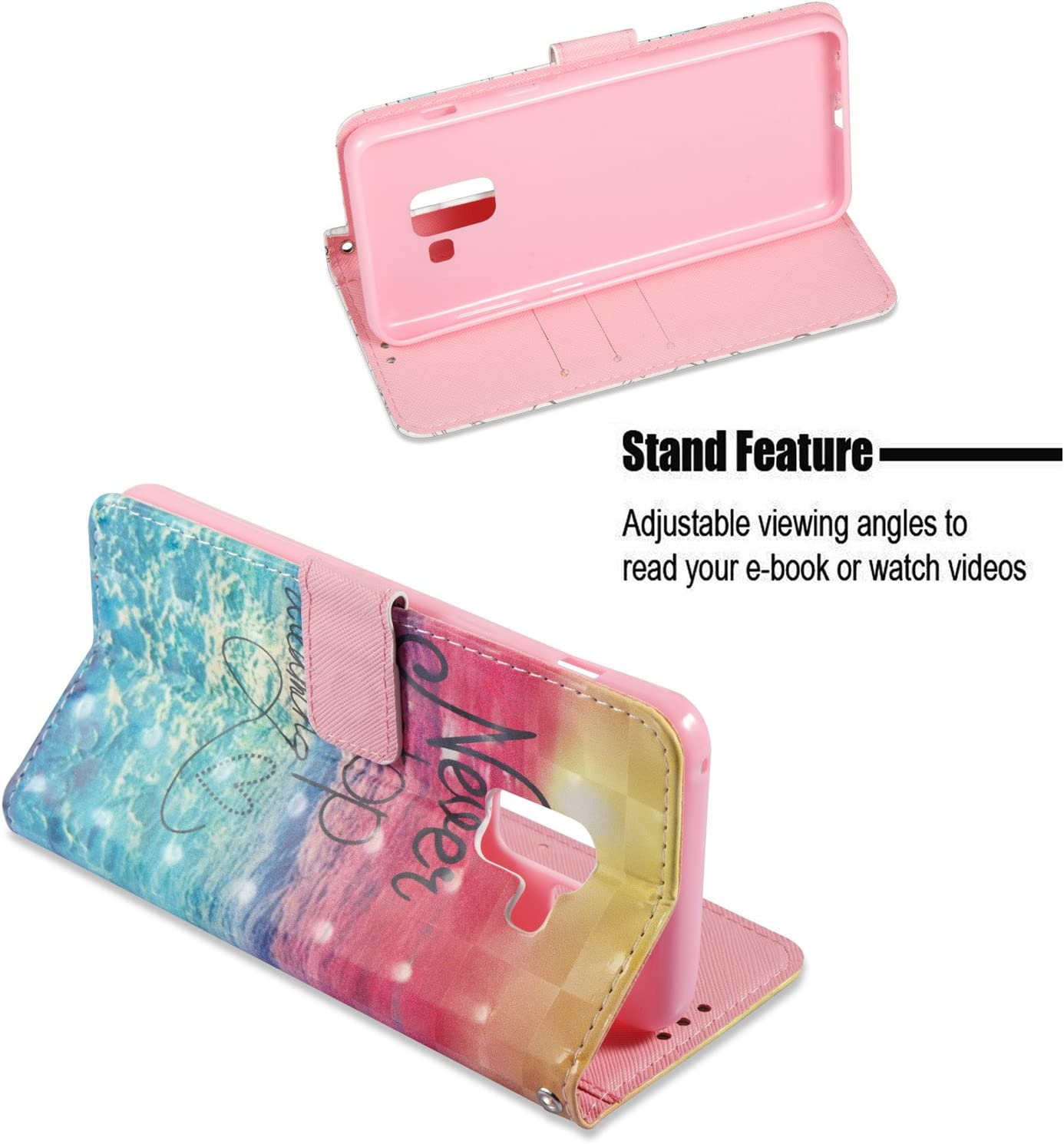Surakey Glitter 3D Flip Leather Phone Case Wallet Case Protective with TPU Case Inner Bling Case in Bookstyle Cover Bumper for Samsung Galaxy A8 2018 Colorful Drops Wind Chimes Galaxy A8 2018 Case