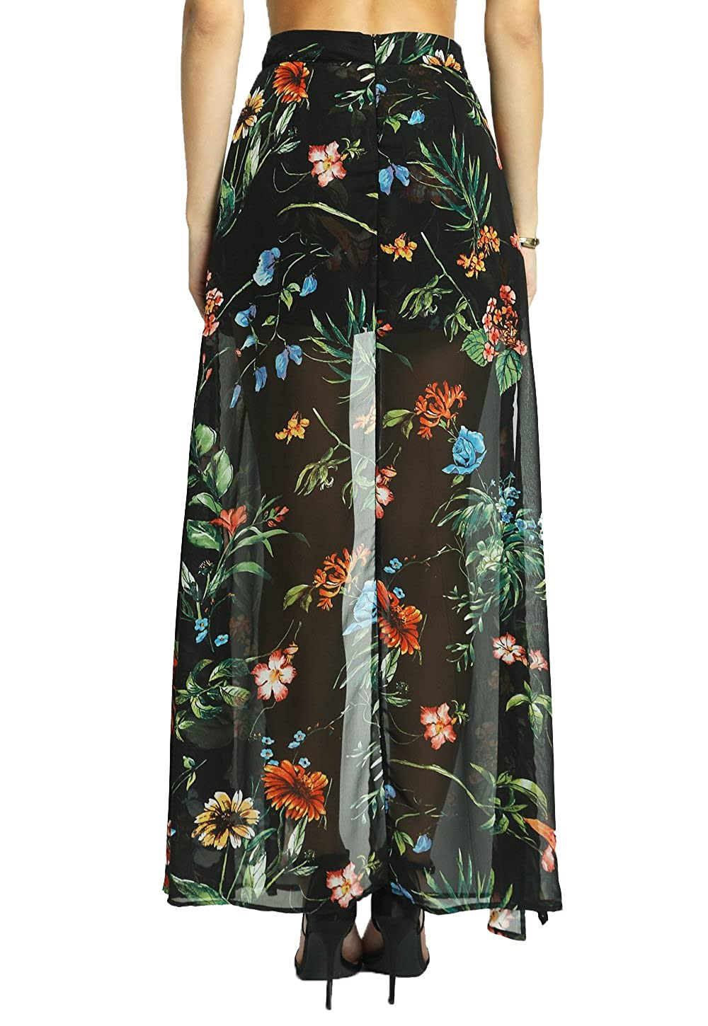 42d295f660d5 Amazon.com: SANS SOUCI Floral Maxi Skirt Overlay Shorts: Clothing