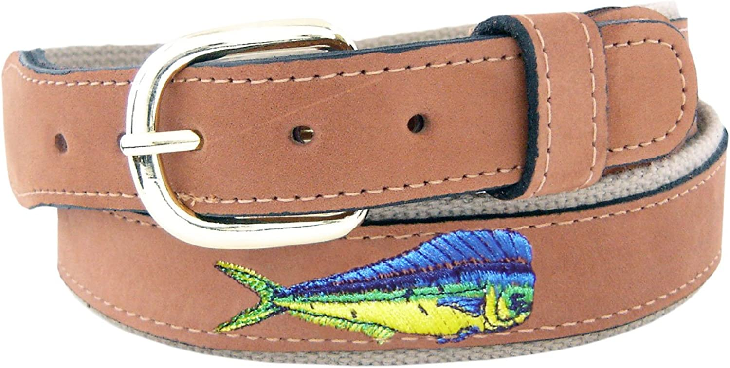 ZEP-PRO Mens Tan Leather Embroidered Dolphin Belt