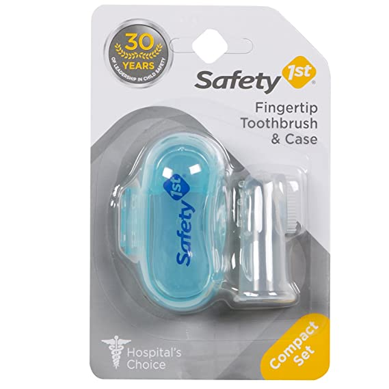 Safety 1st Fingertip Toothbrush and Case, Multicolor Baby Toothbrushes at amazon
