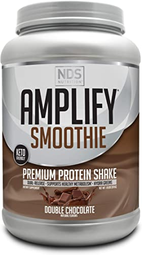 NDS Nutrition Amplify Smoothie Premium Whey Protein Powder Shake with Added Greens and Amino Acids – Build Lean Muscle, Gain Strength, Lasting Energy, and Lose Fat – Chocolate 30 Servings