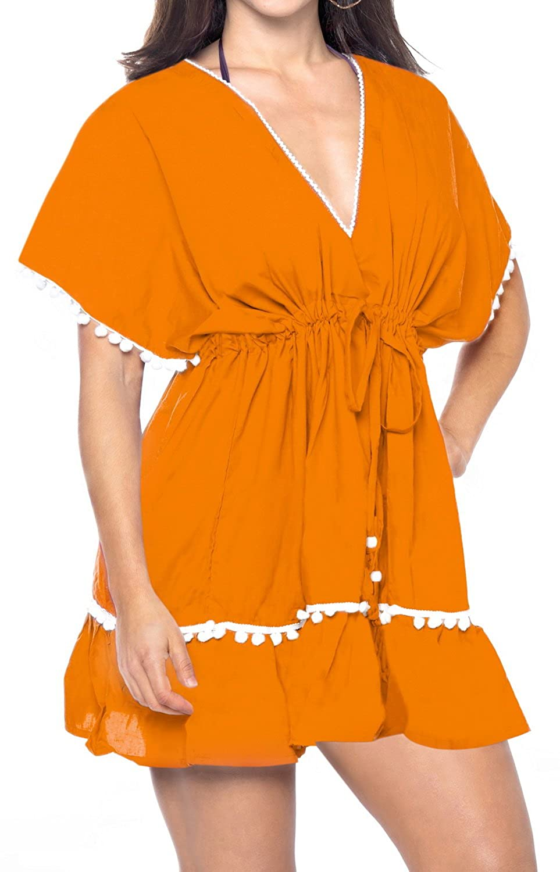 LA LEELA Frauen Strand Bikini Rayon einfache Feste Abdeckung nach Oben 4013 LA LEELA Designer Spitze gearbeitet Strand Schwimmen vertuschen Tunika Kaftan Orange 124583