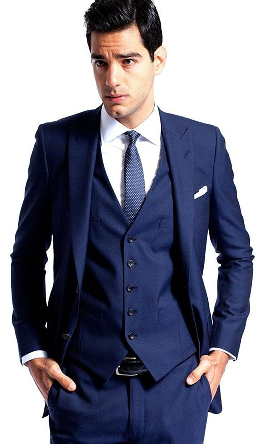 ee8ec05fd286 Men's Wedding Suits Slim Fit Groom Tuxedos 3-Pieces Custom Made Prom Suit  at Amazon Men's Clothing store: