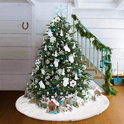 amazon com xonor white christmas tree plush skirt carpet holiday tree ornament decoration for christmas new year decor supplies 48inch 122cm home kitchen xonor white christmas tree plush skirt carpet holiday tree ornament decoration for christmas new year decor supplies 48inch 122cm