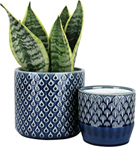 LA JOLIE MUSE Ceramic Planter Set of 2 - 6.3 Inch Peacock Feather Pattern Embossed Flower Pot with Drain Hole for Indoor, Peacock Blue