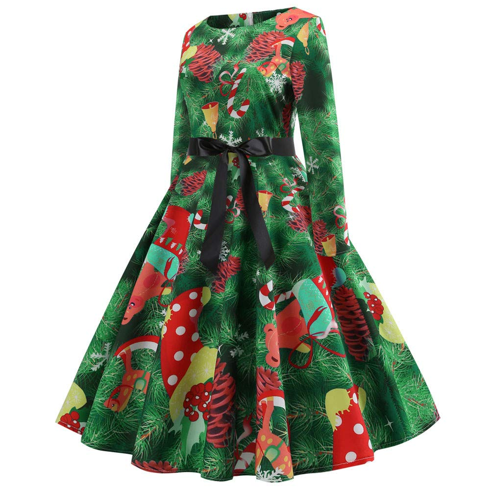 KIMODO Damen Kleid Lang Herbst Abendkleid Partykleid Vintage O Hals Kleider