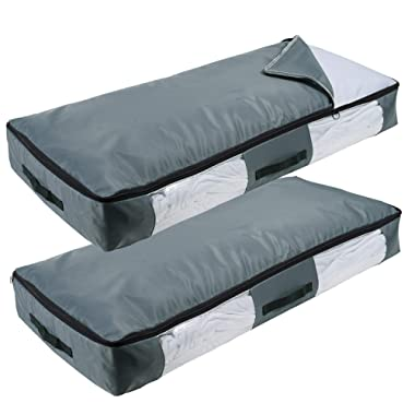 Lifewit Zippered Large Underbed Storage Bag with Clear Window for Comforters, Blankets, Bedding, Clothes, Quilts, Sweaters with Clear Window, Thicker Fabric, Durable Handles, 2 Pack, Grey