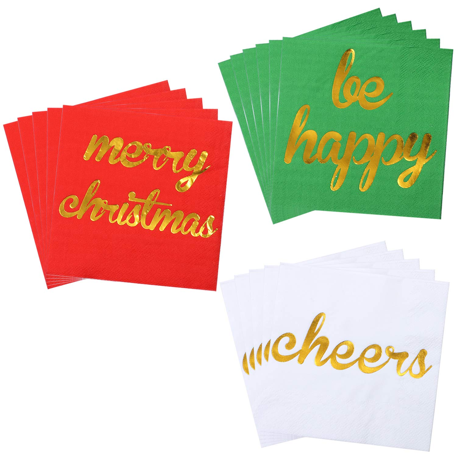 Green and White Paper Napkins for Christmas Holidays Dinner Party Supplies with 2 Layers 5 by 5 Inches Aneco 120 Pack Christmas Cocktail Napkins with Gold Foil Design Beverage Cocktail Napkins Red