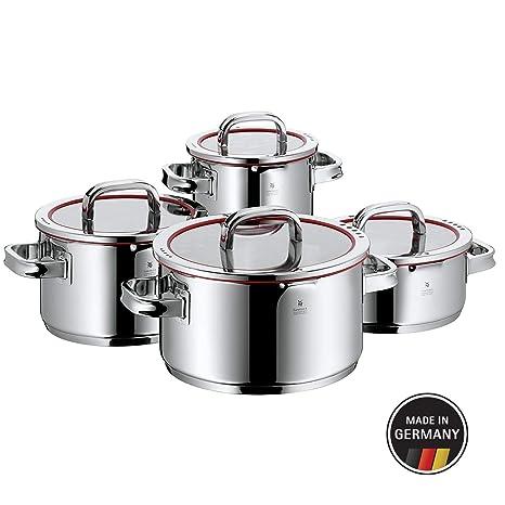 WMF Function 4 - Batería de Cocina, 4 Piezas Acero Inoxidable, 1 Olla Grande de 5.7 L, 1 Olla Mediana de 3.3 L, 1 Olla Pequeña de 1.9 L y 1 Cacerola ...