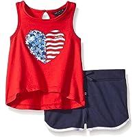 Nautica Racer Back Graphic - Conjunto de Playera y pantalón Corto para niña