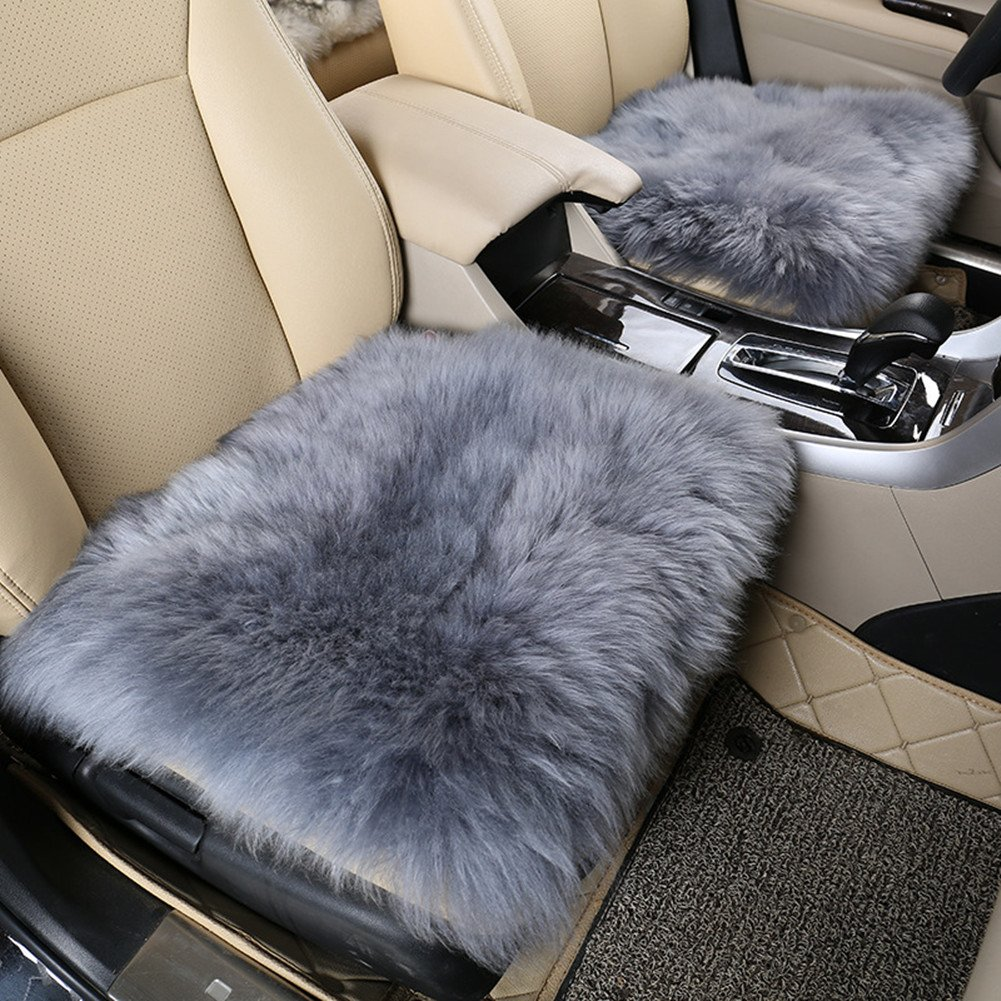 Amfor Faux Wool Car Cushion, Comfortable and Breathable Car Seat Covers, Non-slip Universal Winter Seat Cover for Automobile, Office and Home (1Pcs,Gray)