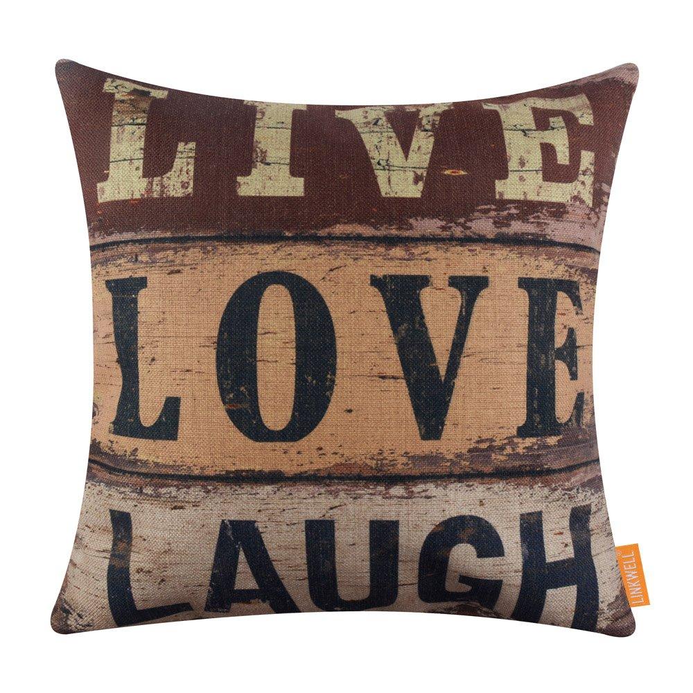 LINKWELL 18x18 inches Vintage Words Live Love Laugh Burlap Throw Pillowcase Cushion Cover (CC1290)