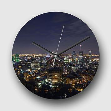 Grande horloge murale analogique 32 cm - Montréal Canada Skyline (3 ...