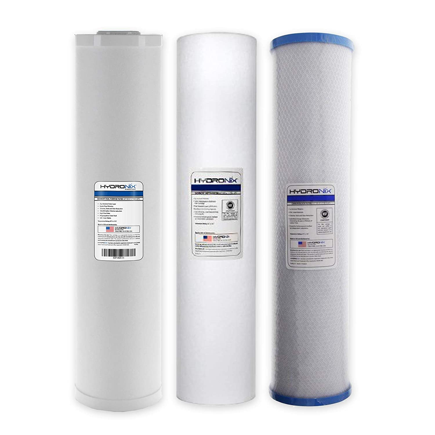 4.5 x 20 Sediment GAC Carbon Hydronix Big Blue Water Filters Pack of 3