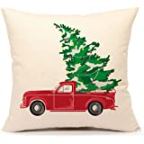 Red Truck with Christmas Tree Vintage Home Decorations Throw Pillow Case Cushion Cover 18 x 18 Inch Cotton Linen