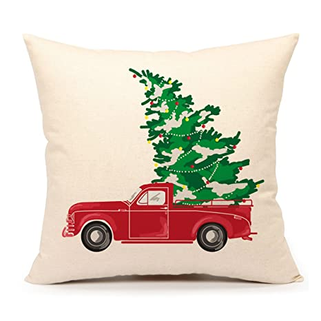 4th emotion red truck with christmas tree vintage home decorations throw pillow case cushion cover 18