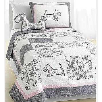 2pc Adorable Niñas Rosa Blanco y Gris colcha para cama doble, diseño de perro con