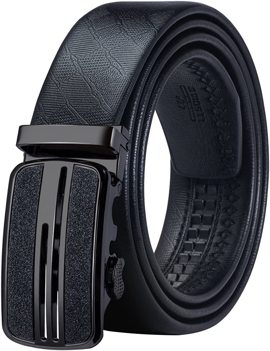 Barry.Wang Mens Solid Buckle Automatic Ratchet Leather Belt Buckle