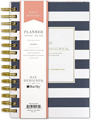 """Day Designer for Blue Sky 2019 Daily & Monthly Planner, Flexible Frosted Cover, Twin-Wire Binding, 5"""" x 8"""", Navy Stripe"""