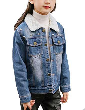 024901278ec7 Amazon.com  Kids Girls Cotton Fleece Lined Washed Denim Jacket ...
