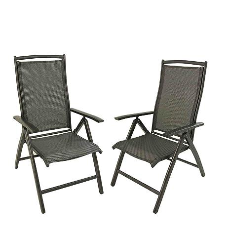 Edenjardi Pack 2 sillones de Exterior de Aluminio Antracita ...