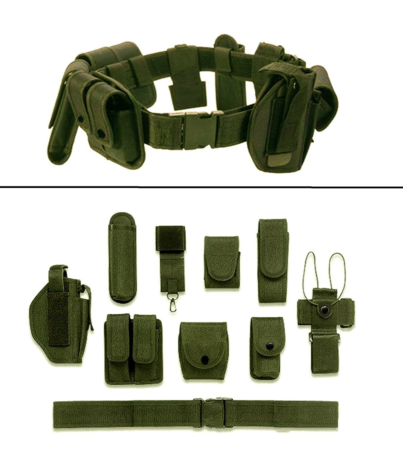 Olive Green 10-Pc Military Duty Nylon Utility Belt - DeluxeAdultCostumes.com