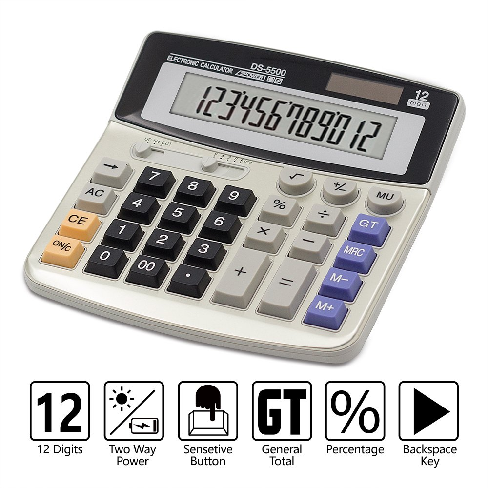 Calculator,12-Digit Desktop Basic Calculator, Solar Battery Dual Power with Large LCD Display and Large Buttons Office Calculator by Ebristar (JP01251A) Boller