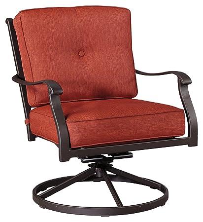 Ashley Furniture Signature Design   Burnella Swivel Rocker Lounge Chair  With Cushion  Set Of 2