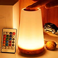 Night Light, TAIPOW Remote Control/Touch Table Lamp, 5-Level Dimmable Bedside Lamp, LED Kids Desk Lamp with Timer…