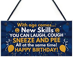 MAIYUAN with Age Comes 40th 50th 60th Birthday Gifts Wood Signs for Men Women Home Decorations Hanging Plaque 6 x 12(SLY252)