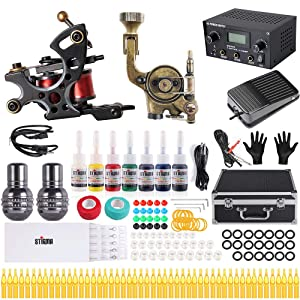 Stigma tattoo gun Complete Tattoo Kit Pro Rotary Tattoo Machine and coils machine Kit Power Supply Color Inks with Case MK682A (Color: copper2)