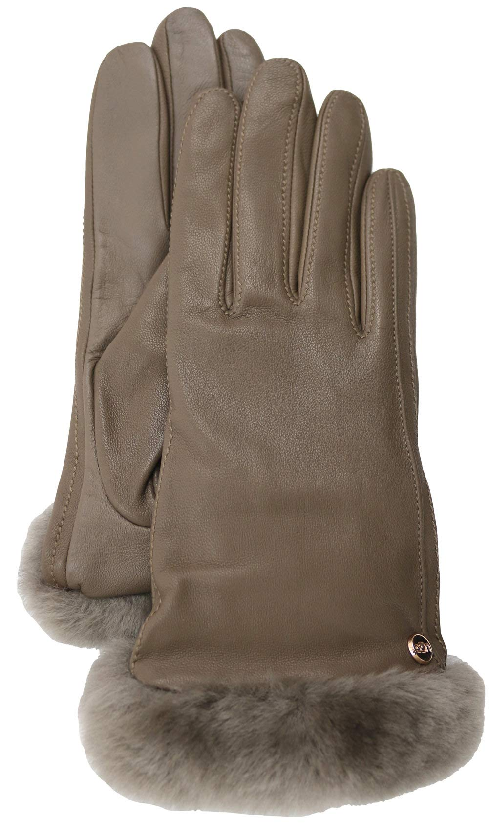 UGG Womens Classic Leather Shorty Tech Glove, Stormy Grey, Size Medium by UGG