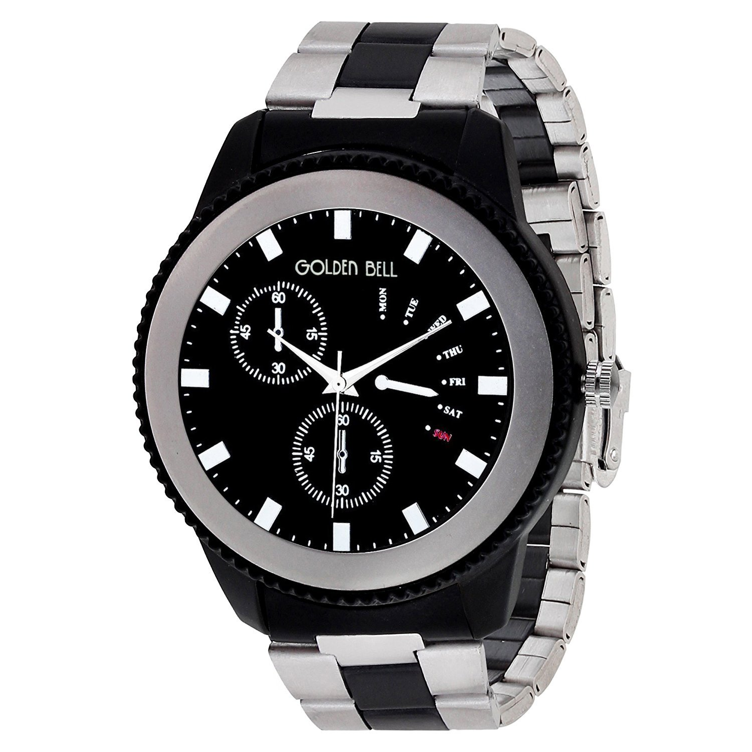 5553660e3730 Buy Golden Bell Original Black Dial Silver Two Tone Designer Steel Chain  Analog Wrist Watch for Men - GB-983 Online at Low Prices in India -  Amazon.in