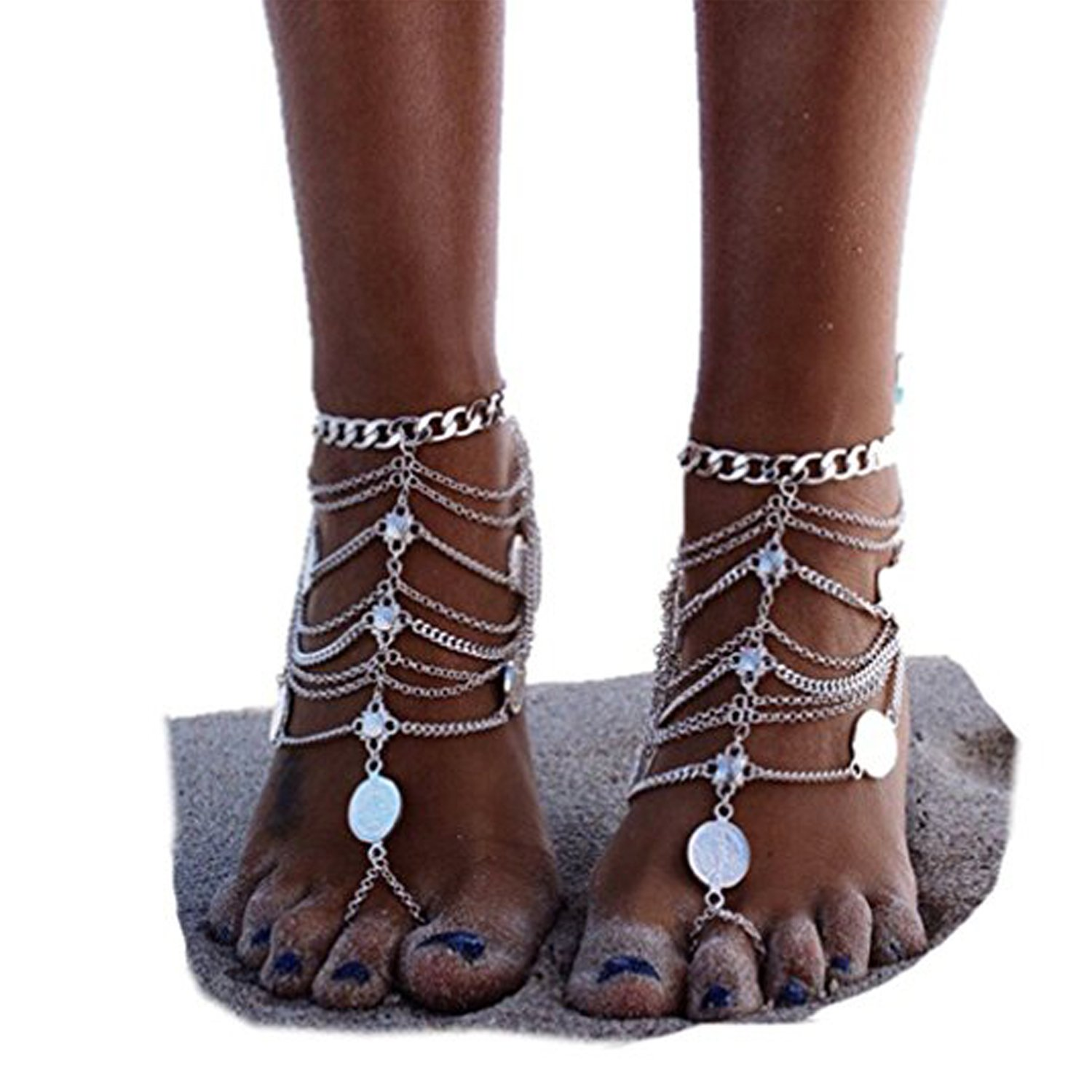 HUSUP 1 Pair Boho Vintage Gold Silver Coin Blessing Symbol Tassel Anklets Foot Jewelry