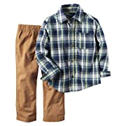 Carter's Baby Boys 2 Piece Playwear Sets, Blue Plaid/Khaki, 6M